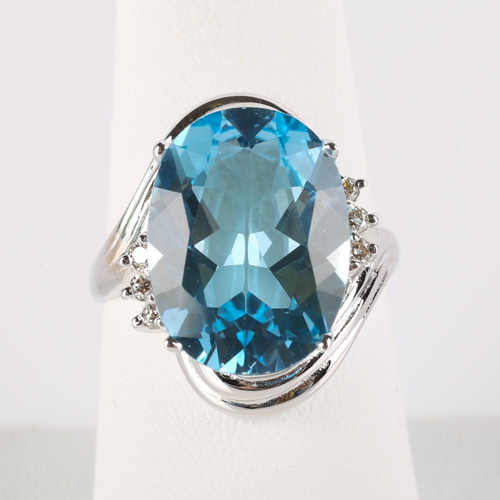 14K White Gold 7.02 CTS Blue Topaz and Diamond Ring