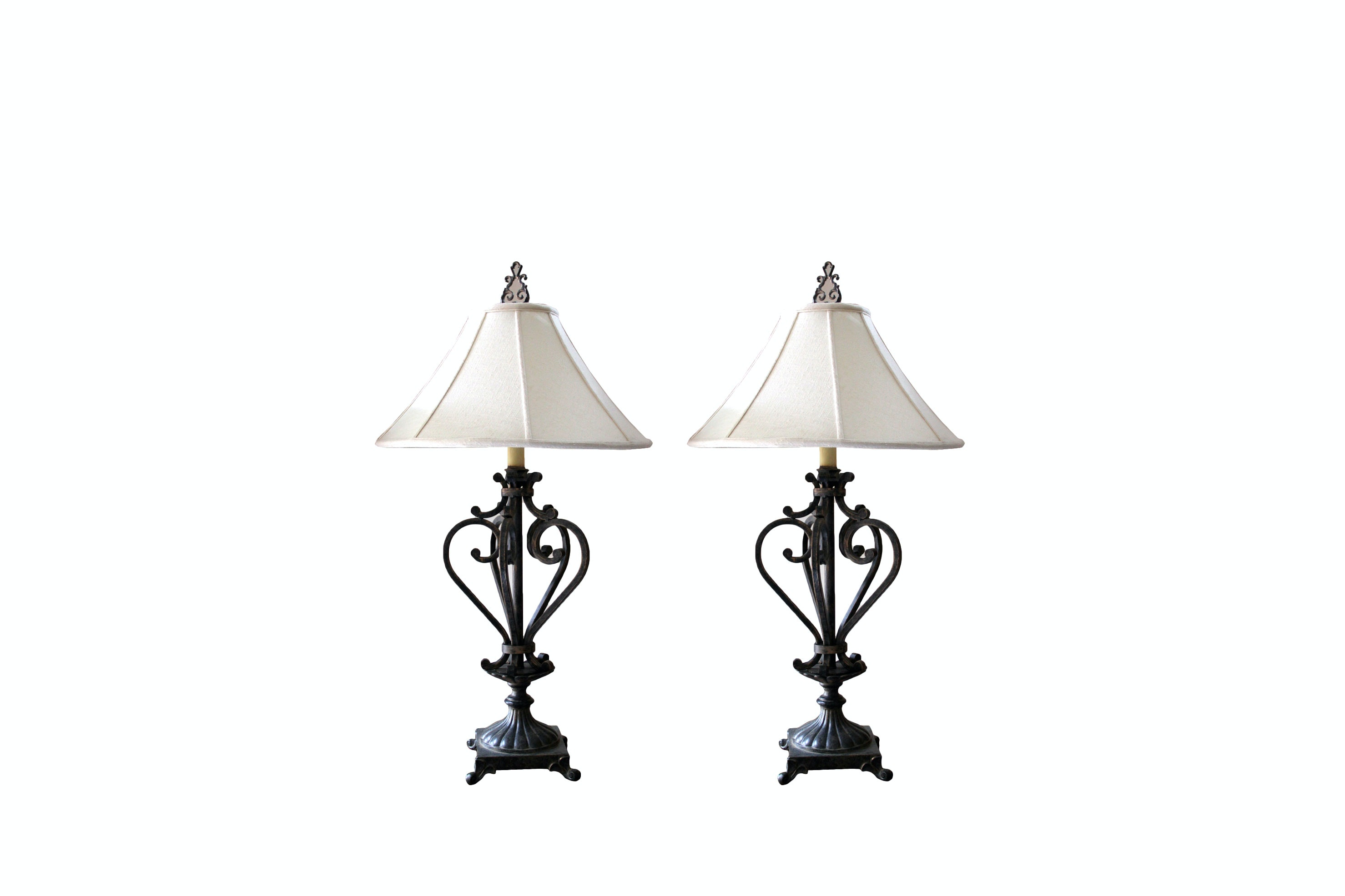 Pair of Iron Table Lamps from D'Hierro