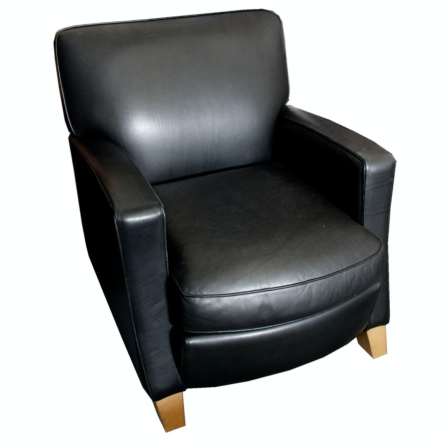 cantoni black leather paris chair by american leather studio ebth