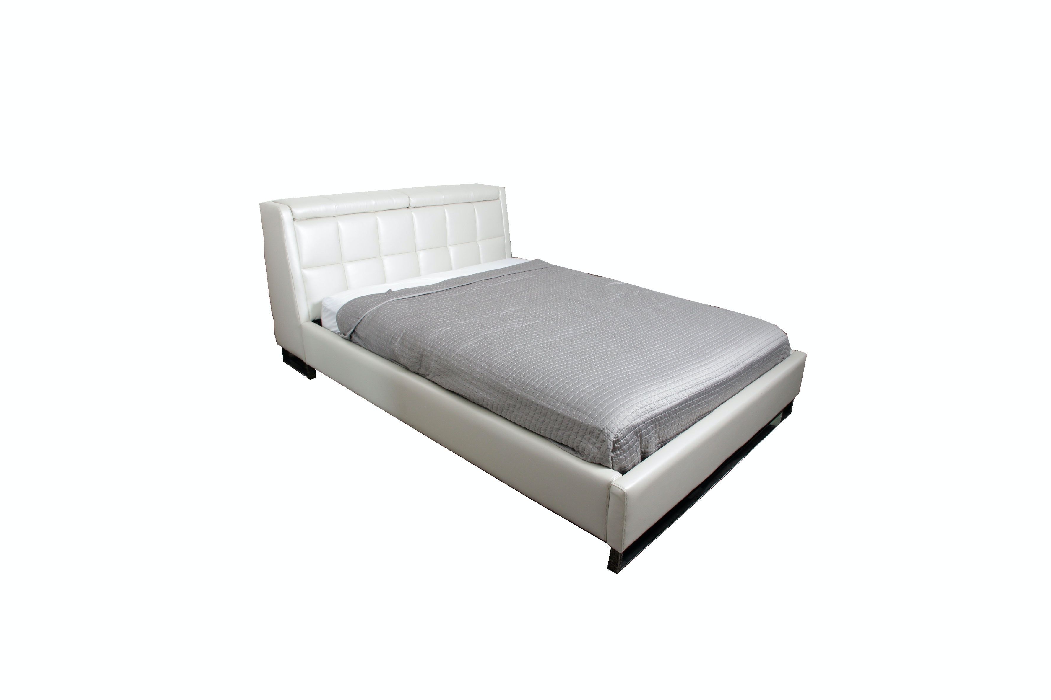 Metallic Off White Leather Full Size Bed Frame