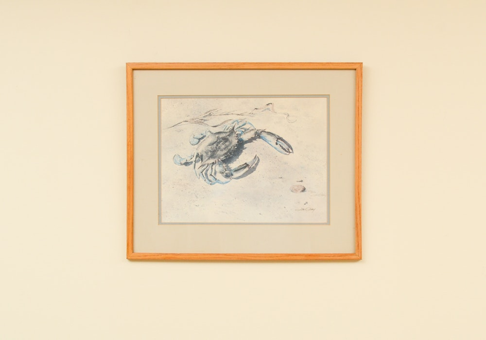 Jim Gray Signed Limited Edition Offset Lithograph of Blue Crab