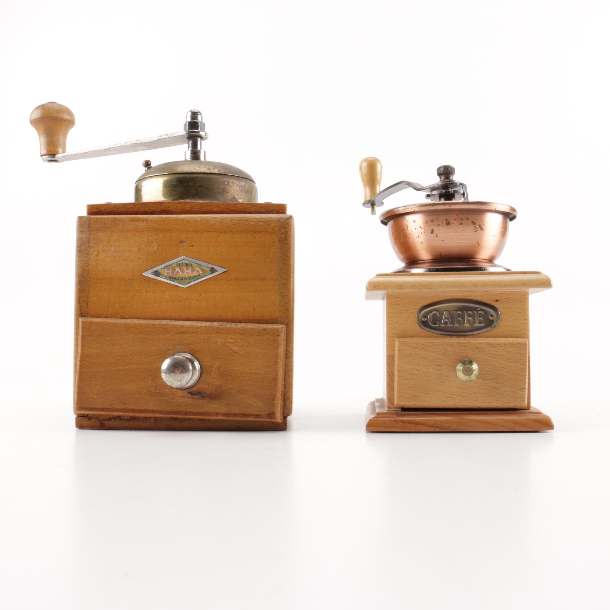 Pair of Wood and Metal Coffee Grinders Including HAHA