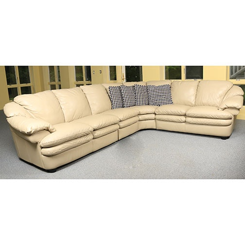 Cream Leather Upholstered Sectional