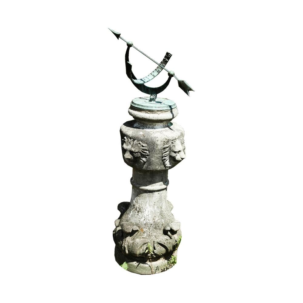 Metal Sundial on Concrete Pedestal