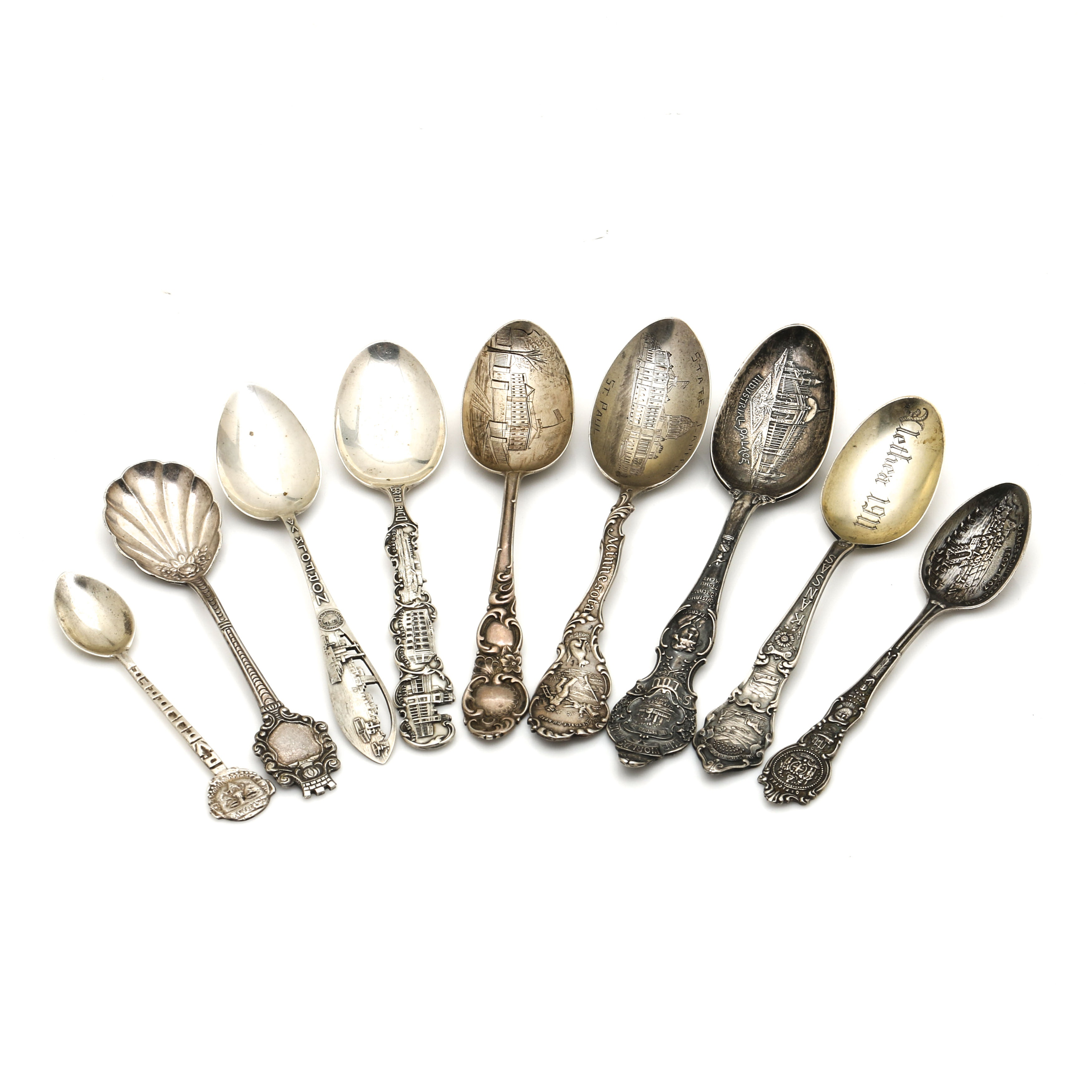 Charles M Robbins and Other Sterling and Plate Souvenir Spoons
