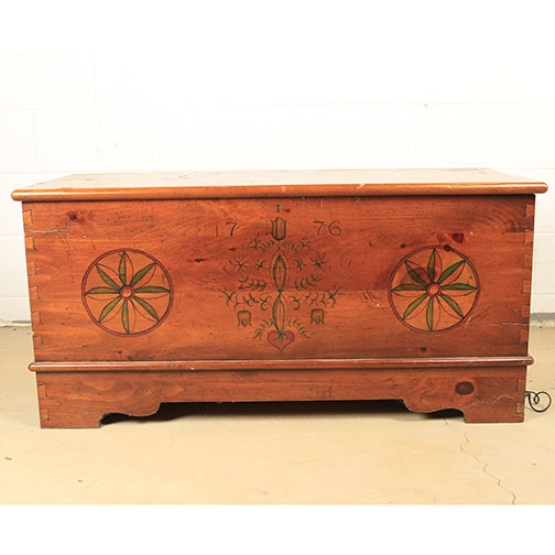 Folk Style Painted Wood Magnavox Stereo Chest