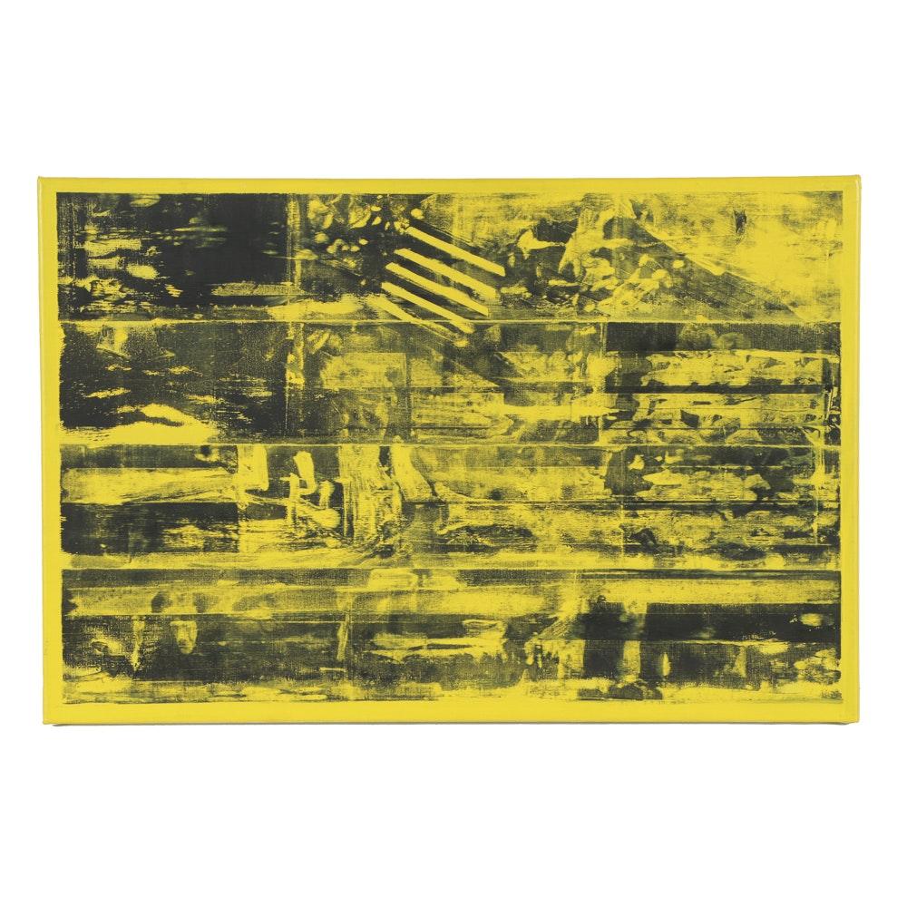 "Chris Dorland Acrylic Painting on Canvas ""Untitled (Yellow 3)"""