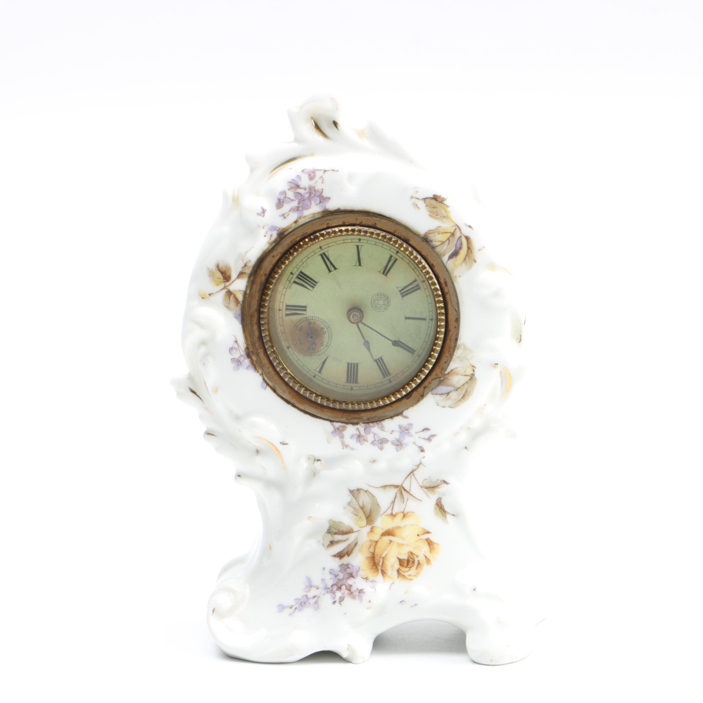 Antique New Haven Clock Co. Porcelain Mantel Clock