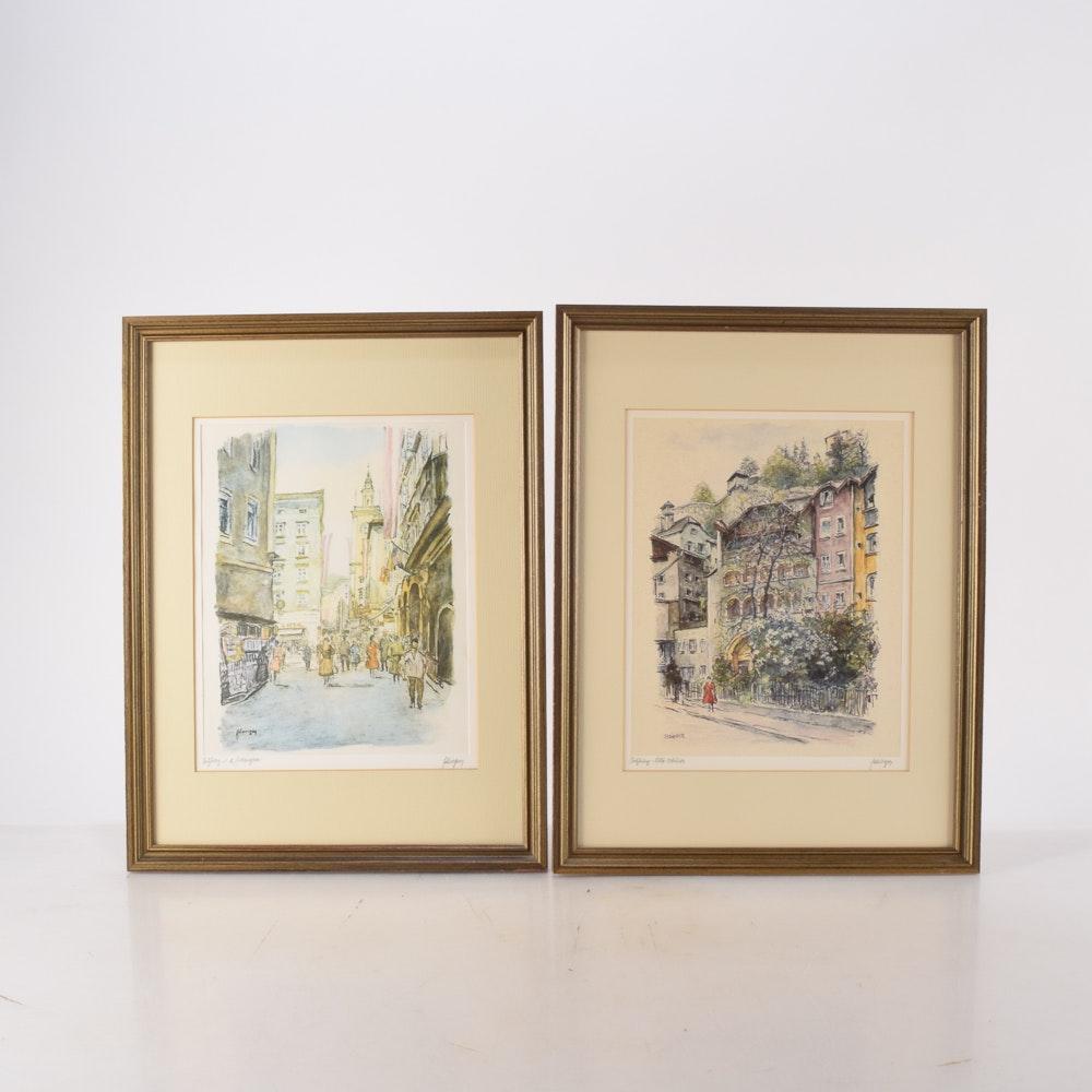 Framed Austrian Street Scenes