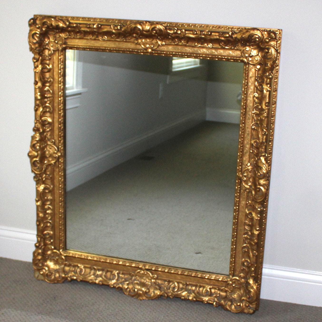 Ornate Gold-Tone Wall Mirror