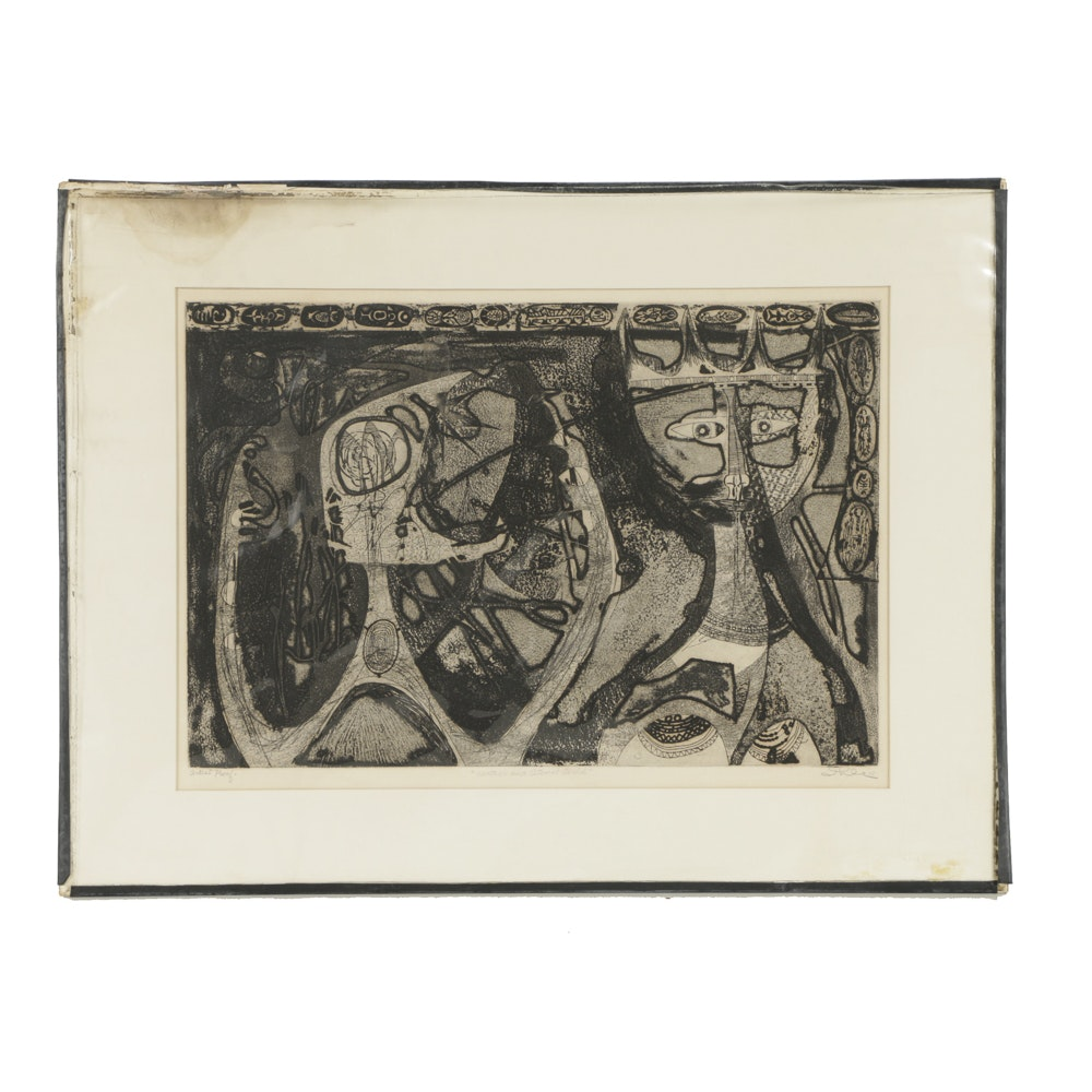 """John Ihle Artist's Proof Etching on Paper """"Mother and Atomic Child"""""""