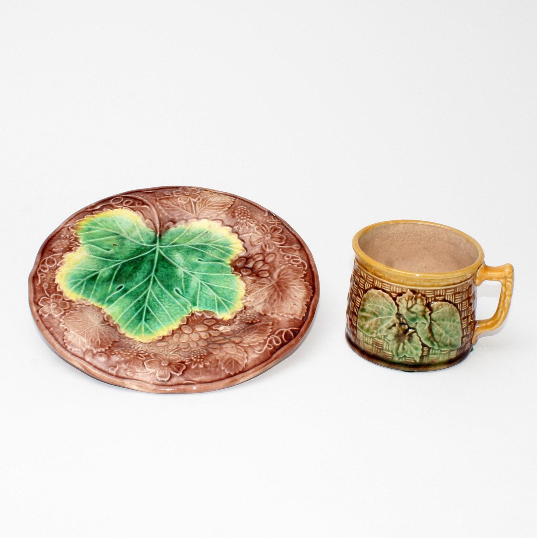 Antique Majolica Grapeleaf Plate and Cherry Blossom Cup