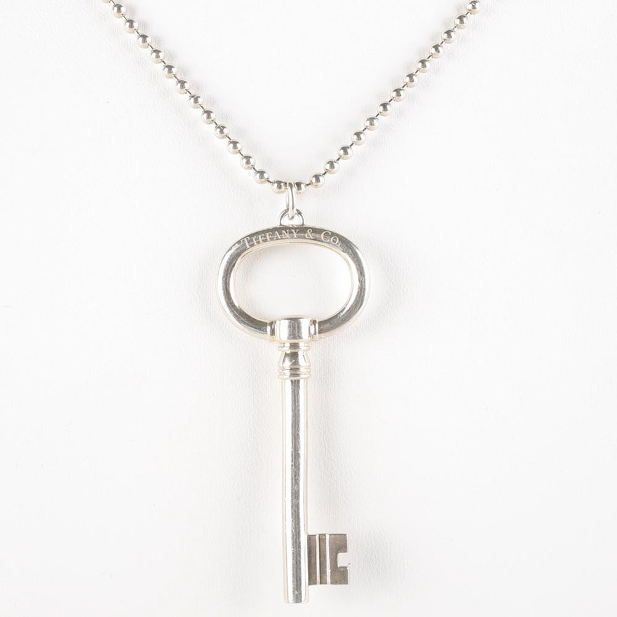 Tiffany Co Sterling Silver Key Necklace Ebth