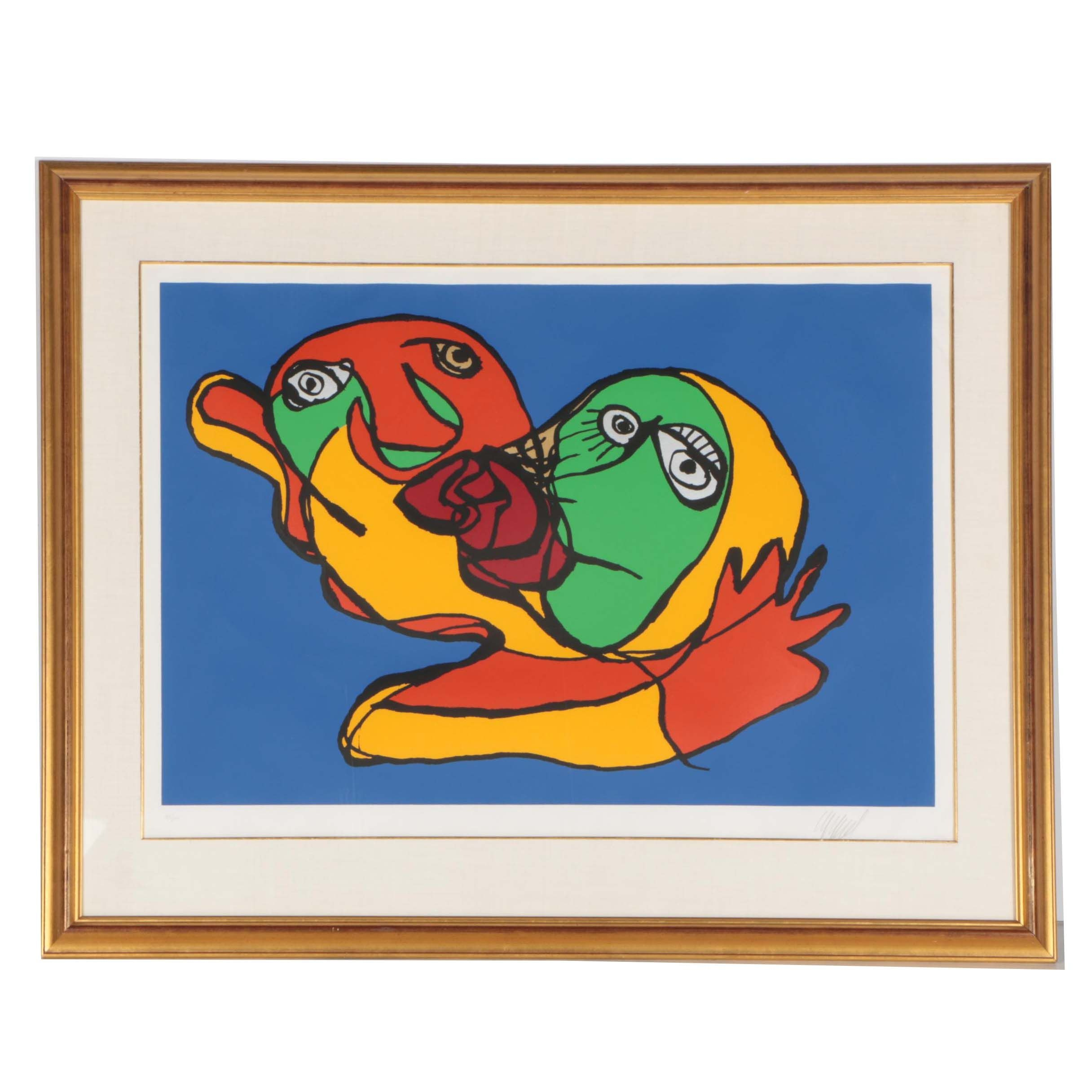 "Karel Appel Limited Edition Serigraph ""Blue Sky Kiss"""