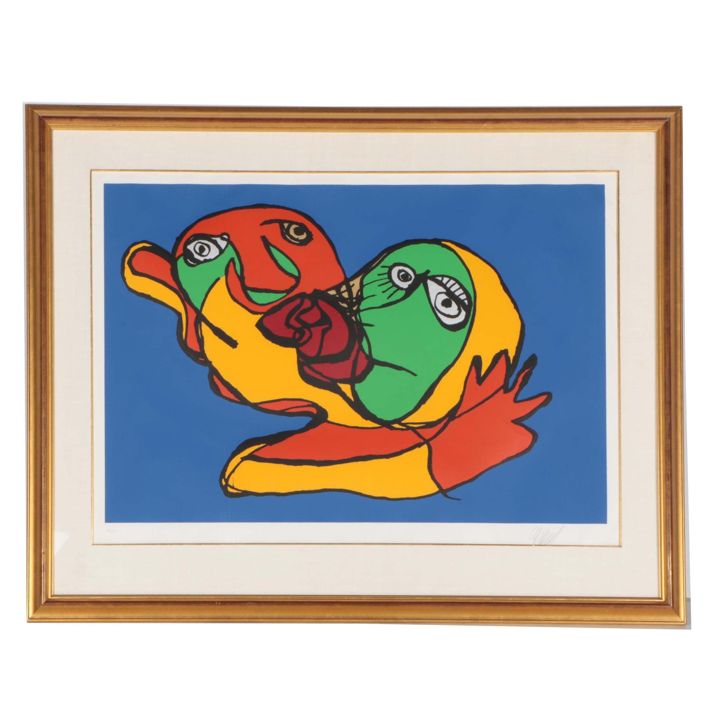 "Karel Appel Limited Edition Serigraph ""Blue Sky Kiss"""