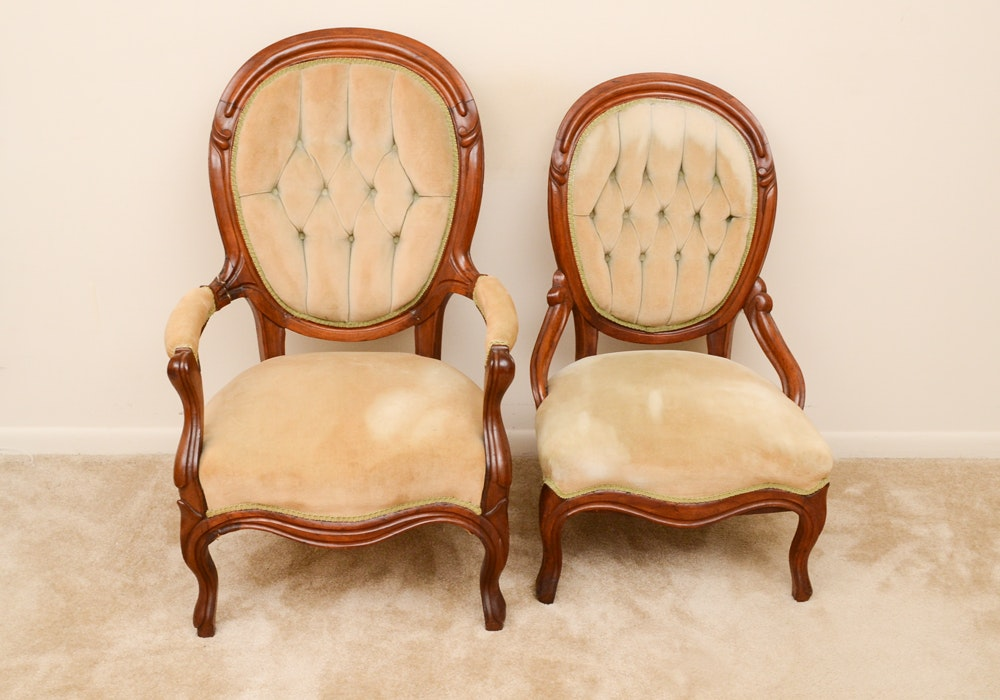 Pair of Rococo Revival Balloon Back Chairs