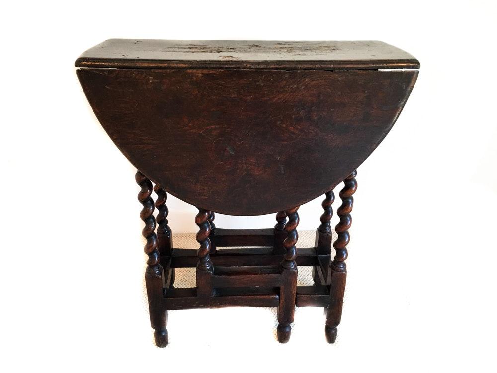 Antique English Oak Barley Twist Gateleg Table