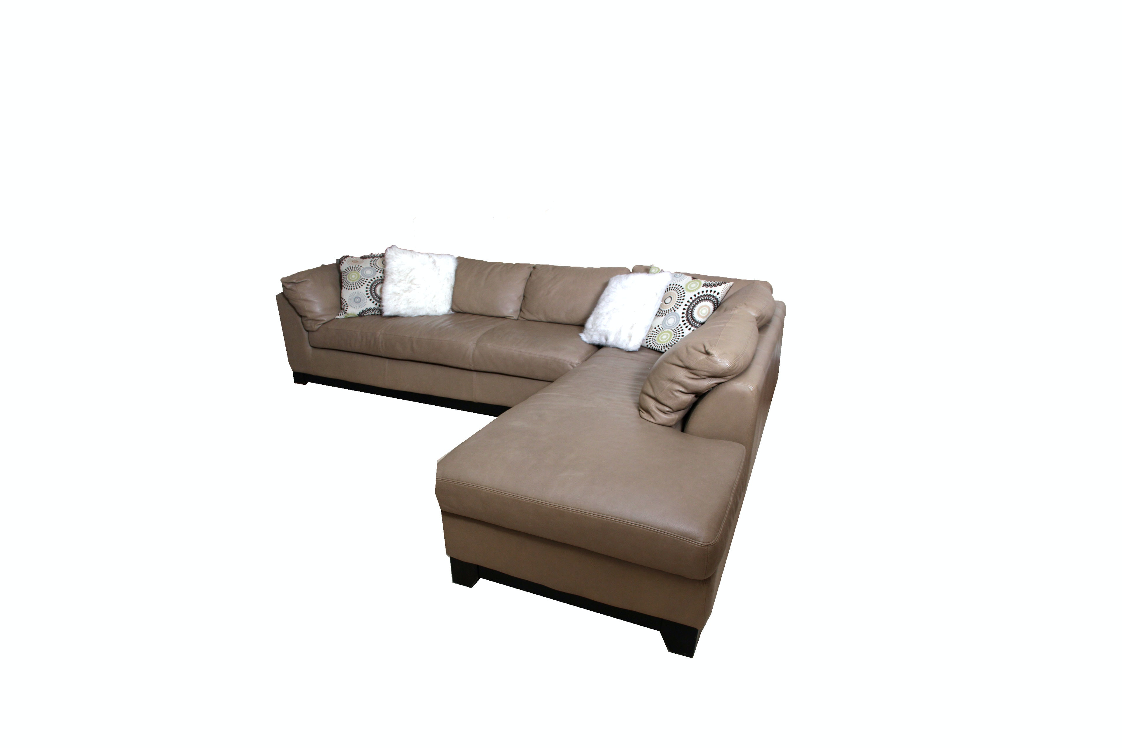 Tan Leather Sofa with Chaise and Pillows