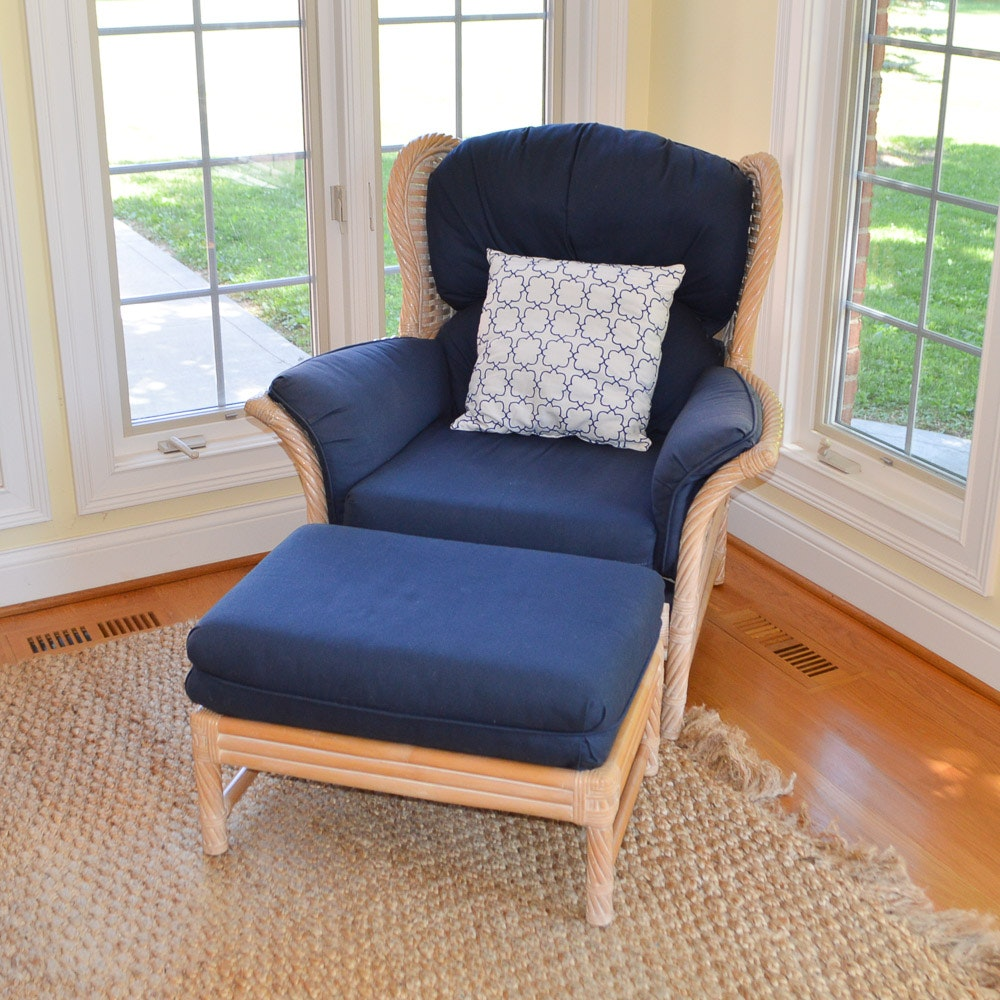 Faux Bamboo and Wicker Wing Chair With Ottoman