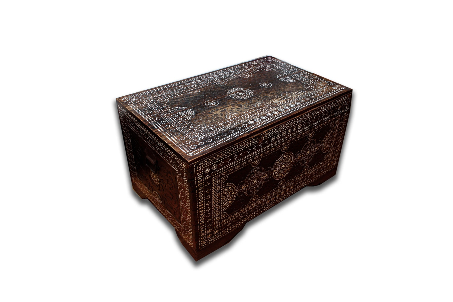 Carved Teak and Bone Inlay Chest