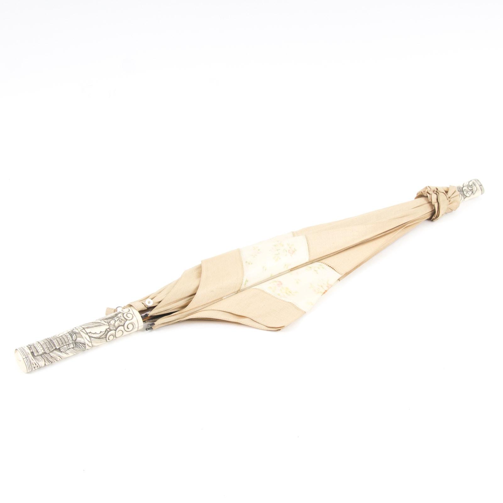 Vintage Japanese Umbrella with Carved Bone Elements