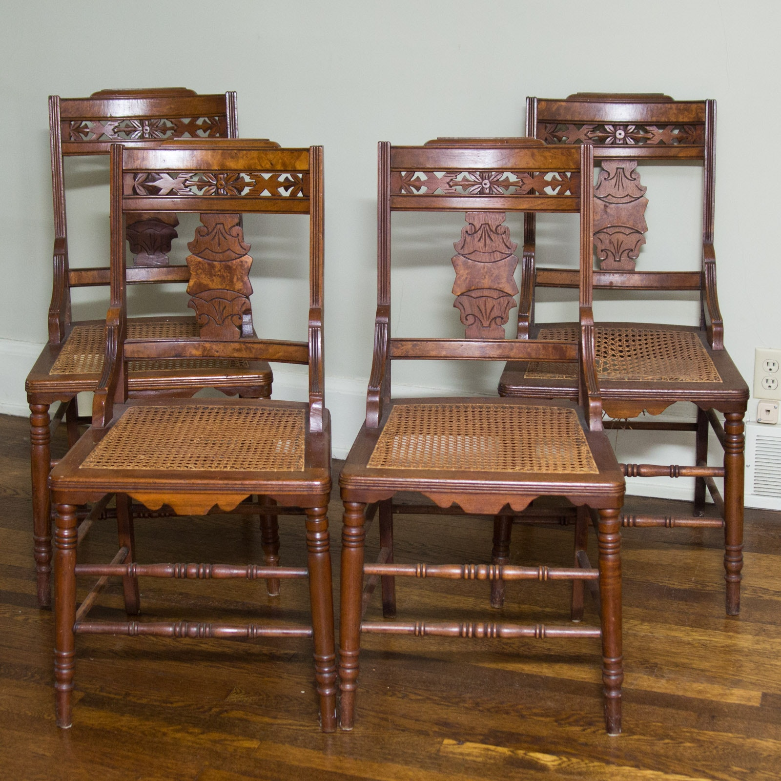 Late 19th Century Victorian Eastlake Caned Side Chairs