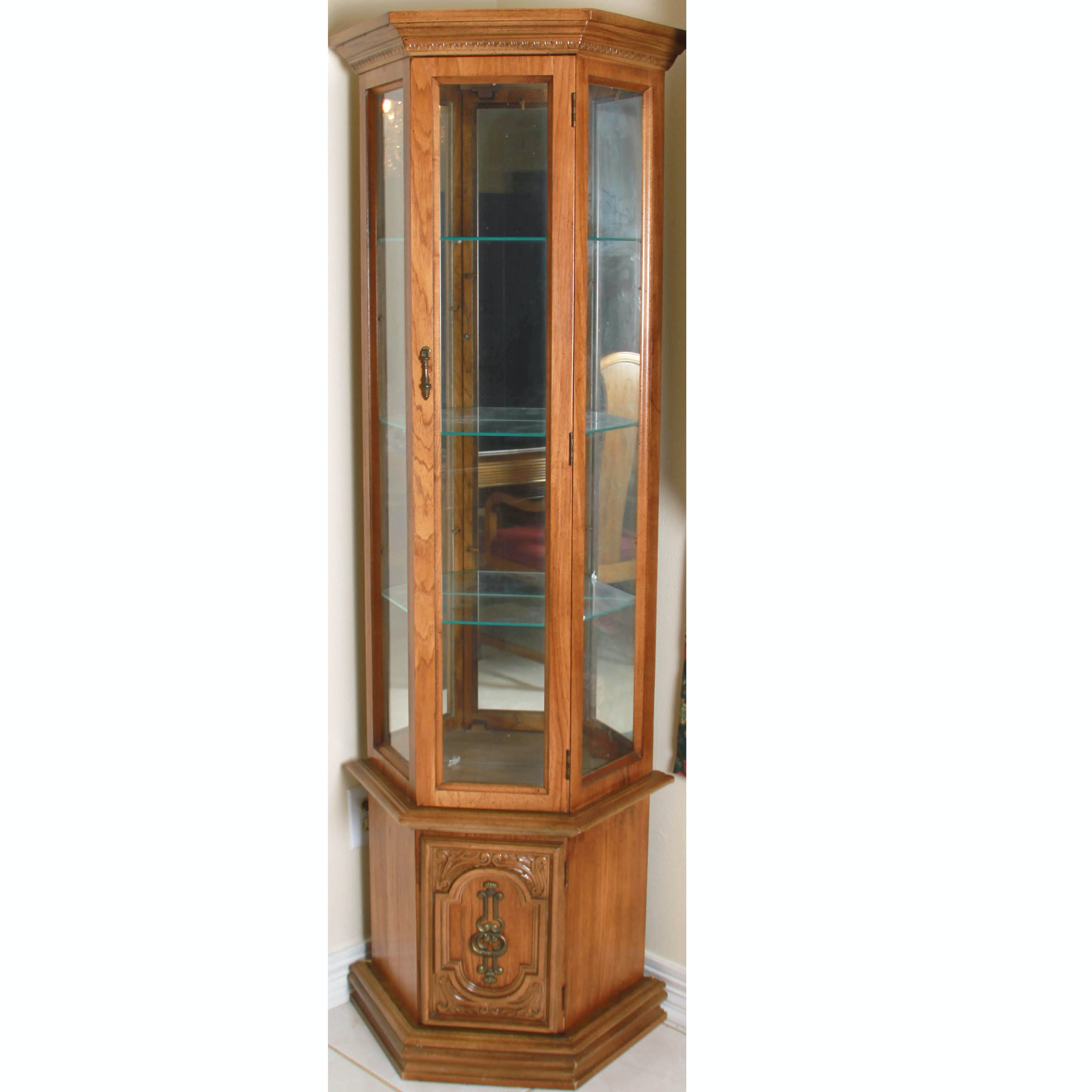 Wooden Lighted Curio Cabinet