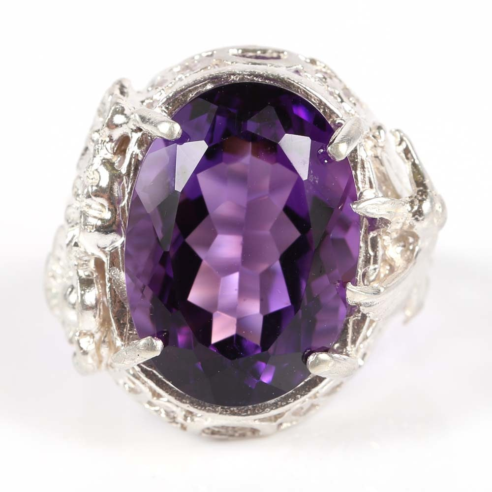 Sterling Silver and 12.10 CTS Amethyst Hummingbird Ring