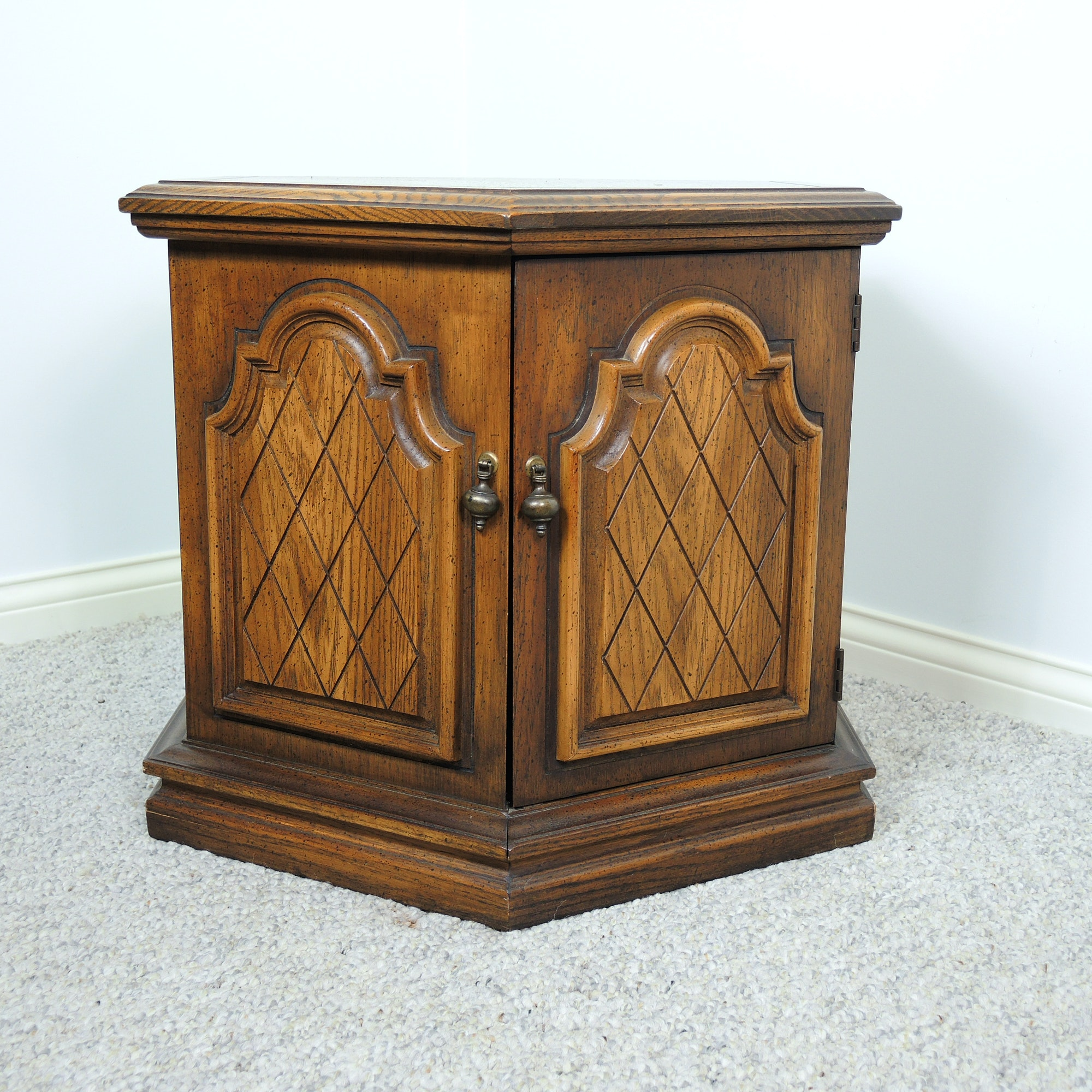 Vintage Hexagonal End Table / Cabinet