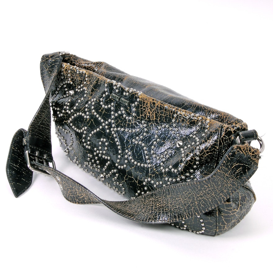Miu Miu Studded Distressed Leather Shoulder Bag   EBTH aa6372a097dfe
