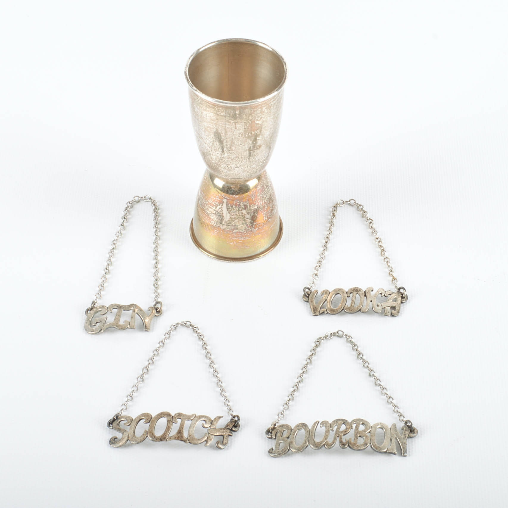 Sterling Silver Doskow Decanter Labels and a Gorham Double Jigger