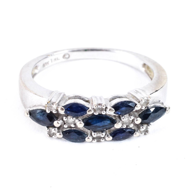 10K White Gold, Diamond and Sapphire Ring