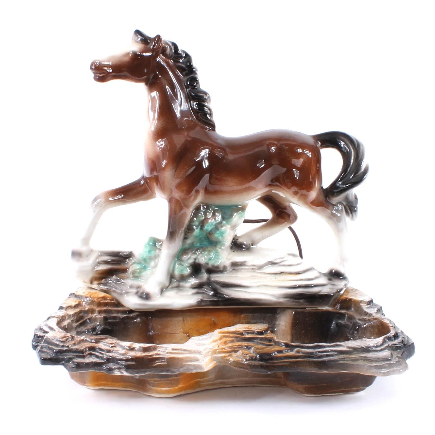 Mid Century Horse Ceramic TV Lamp by Lane & Co.