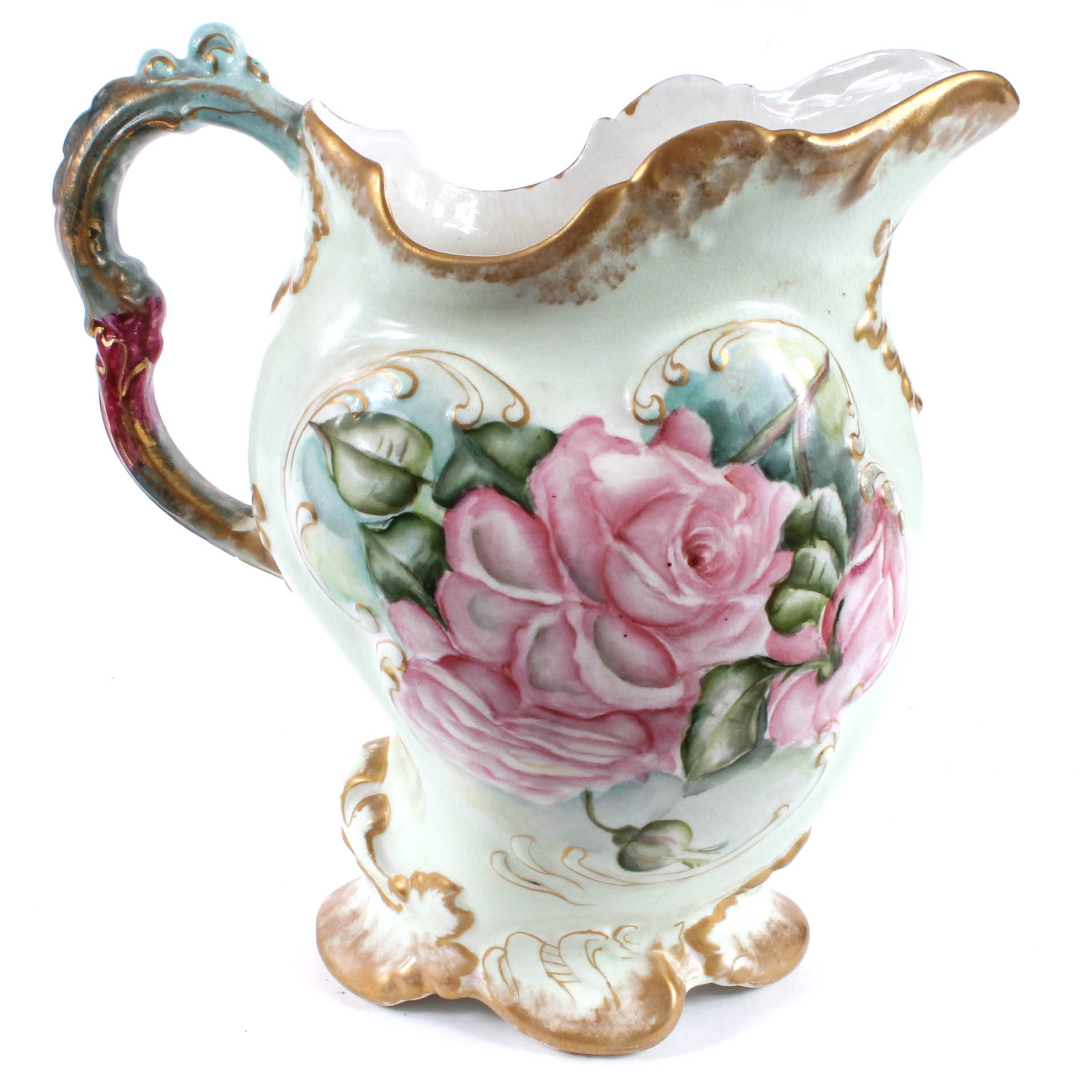 Amature Hand Painted Porcelain Pitcher