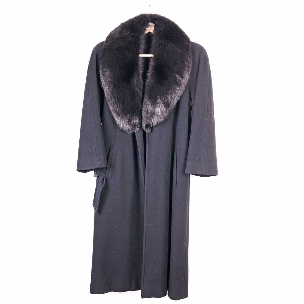 Saks Fifth Avenue Cashmere and Wool Women's Coat with Fox Fur Collar