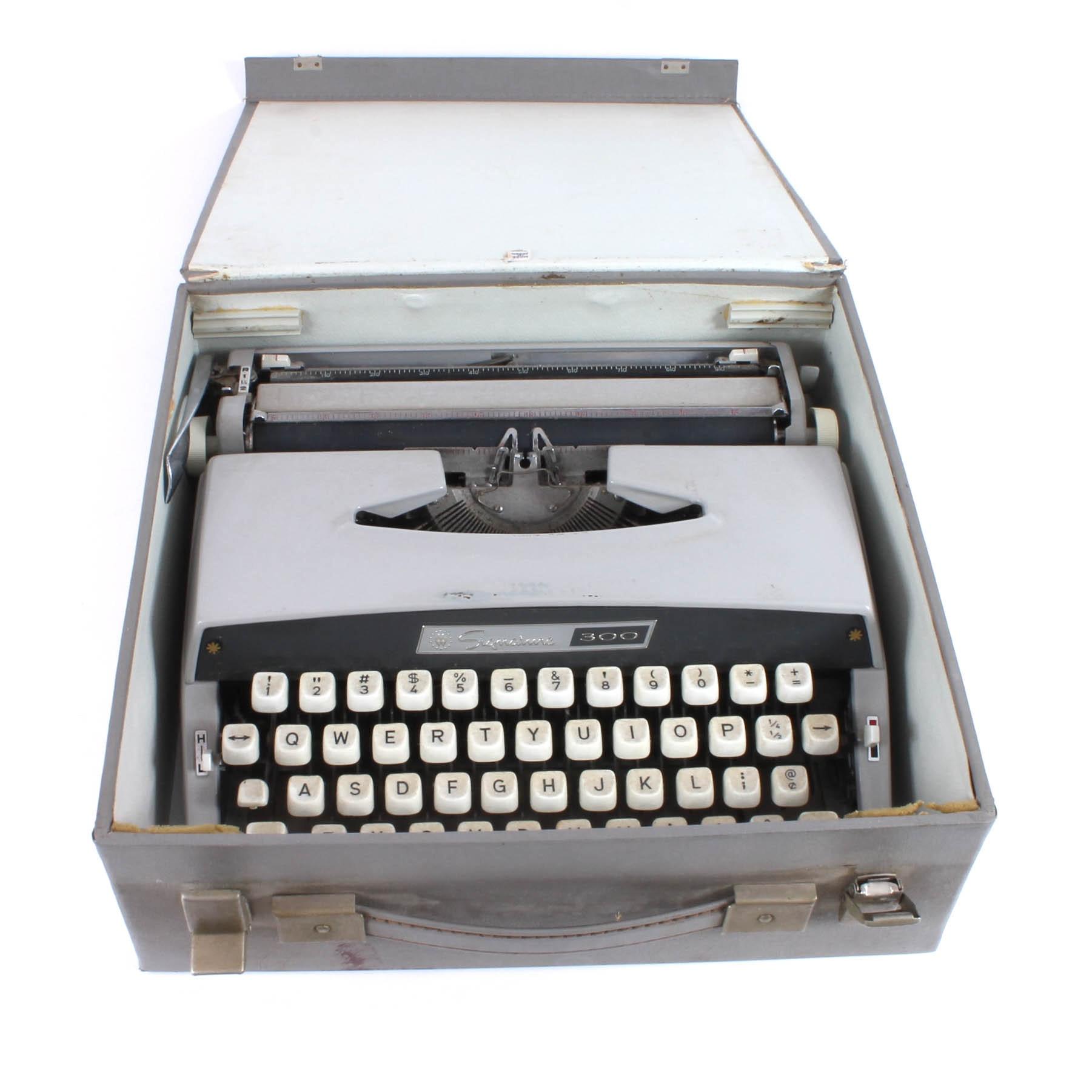 "Vintage ""Signature 300"" Typewriter by Montgomery Ward"