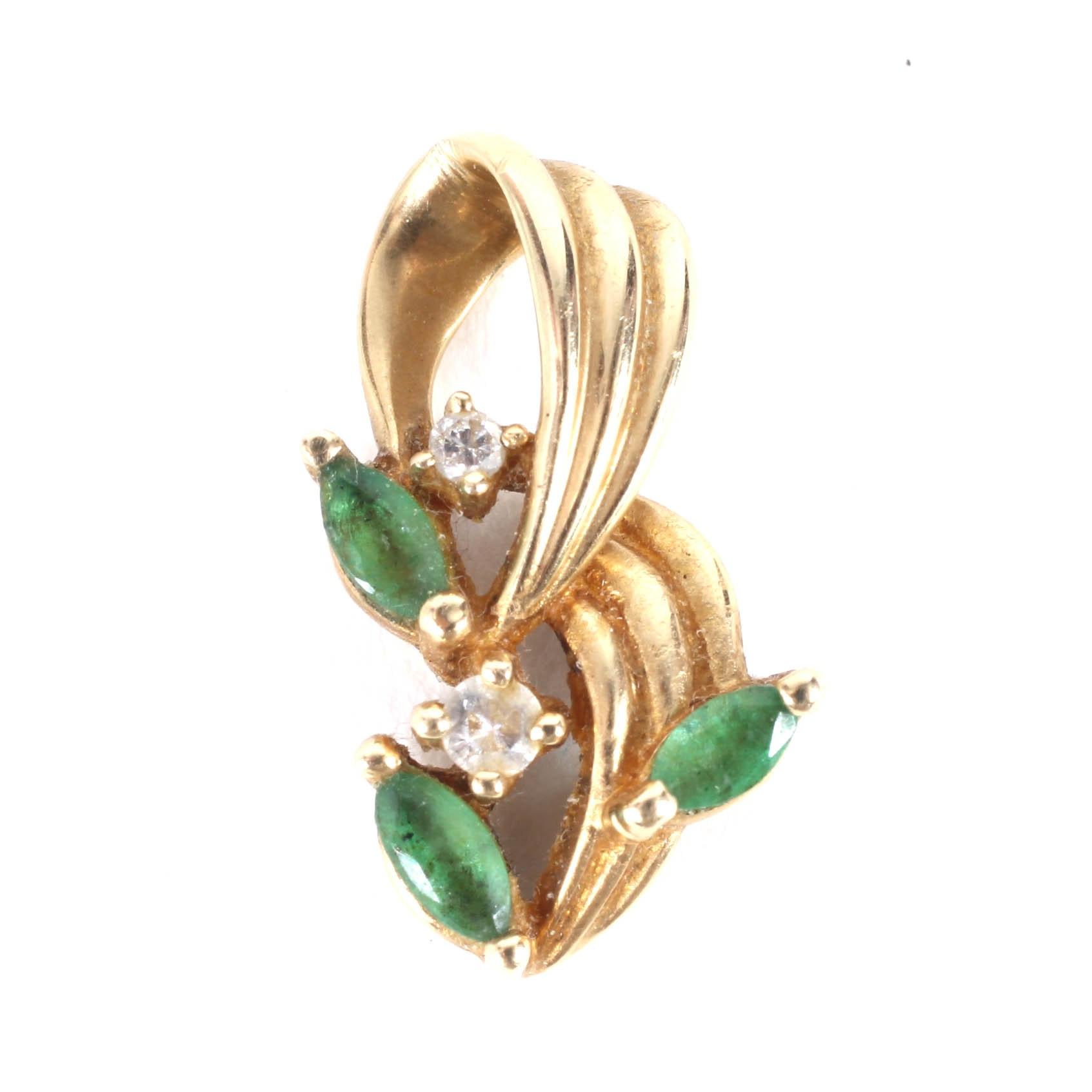 14K Gold, Emerald and Diamond Pendant
