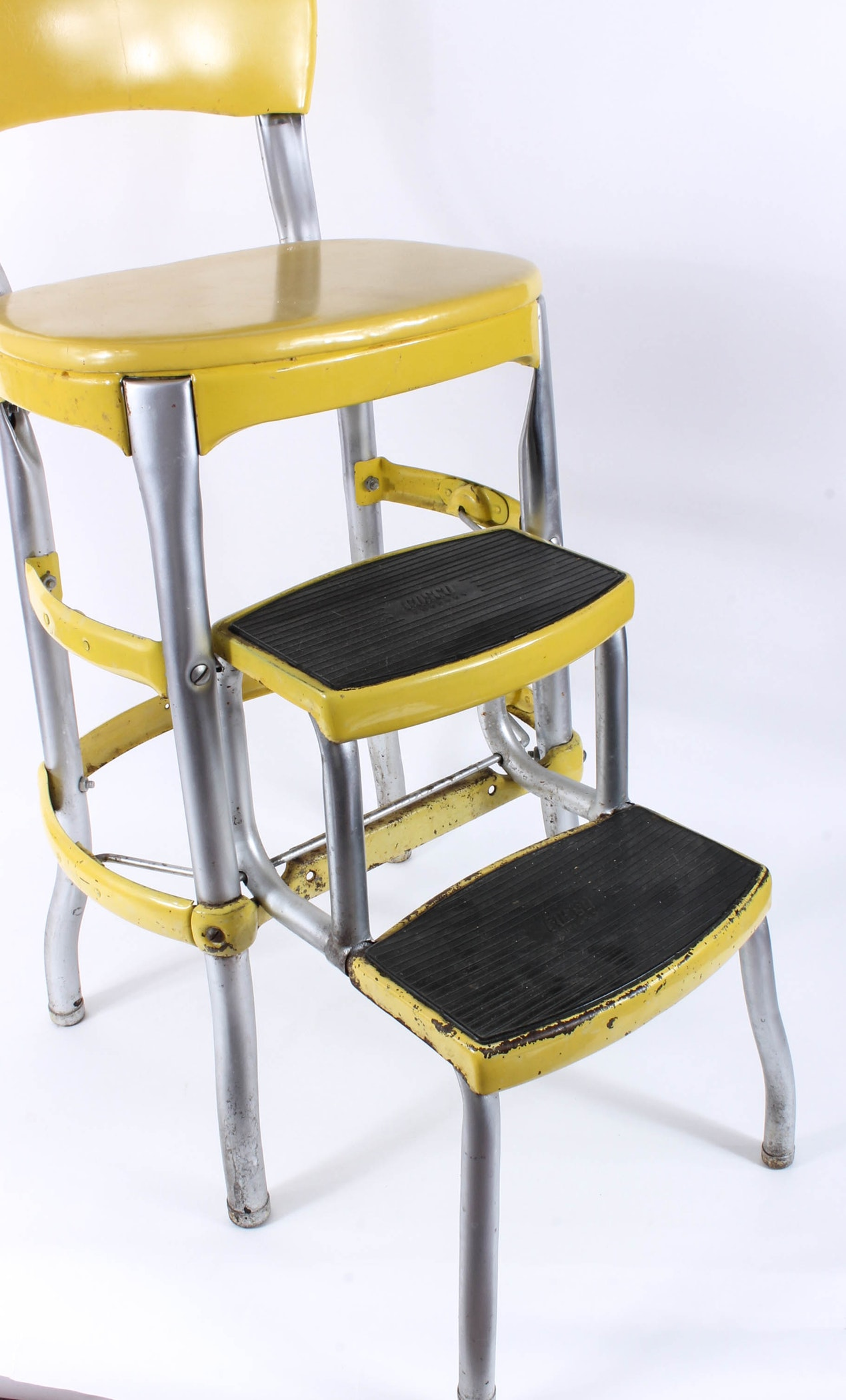 Vintage Yellow Folding Stepping Stool Ebth