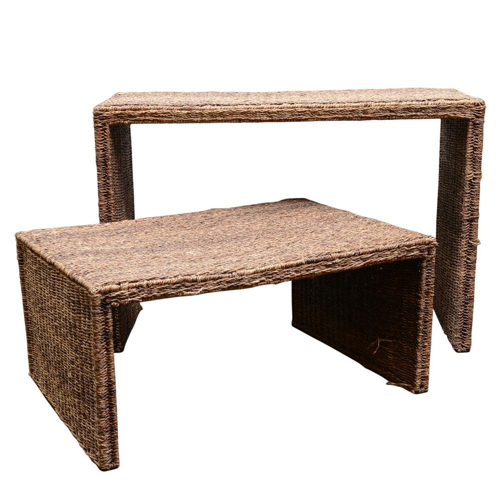 2-Tier Wicker Nesting Table Set