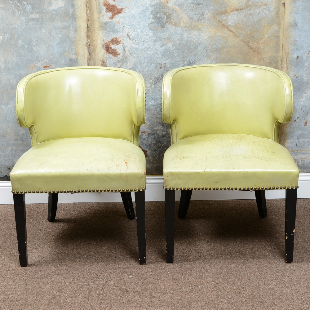 Mid Century Modern Green Leather Chairs