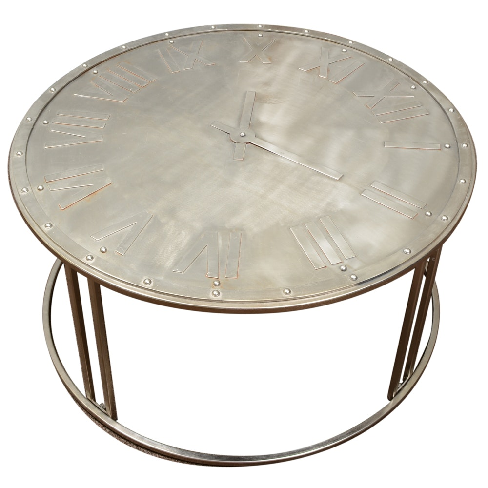 Round Metal Clock Coffee Table