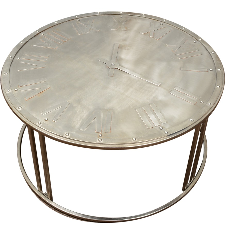 Round metal clock coffee table ebth round metal clock coffee table geotapseo Image collections