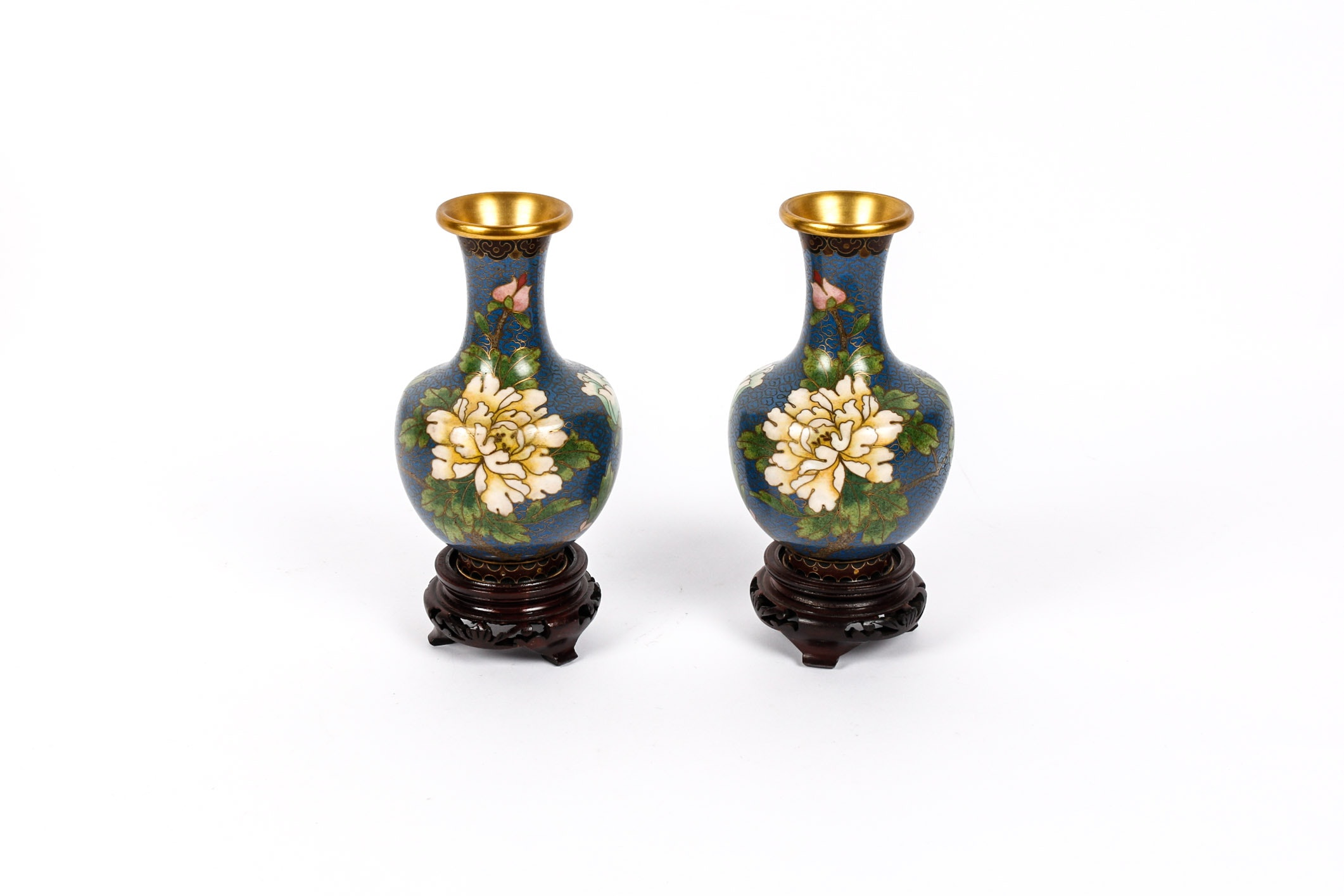 Pair of Chinese Blue Cloisonné Vases