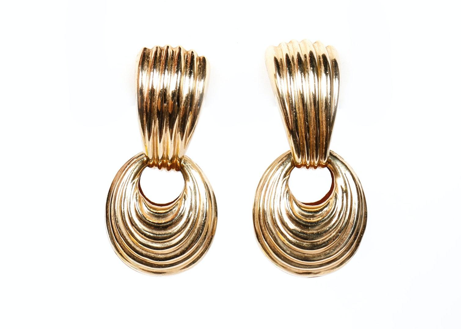 14K Yellow Gold Door Knocker Earrings