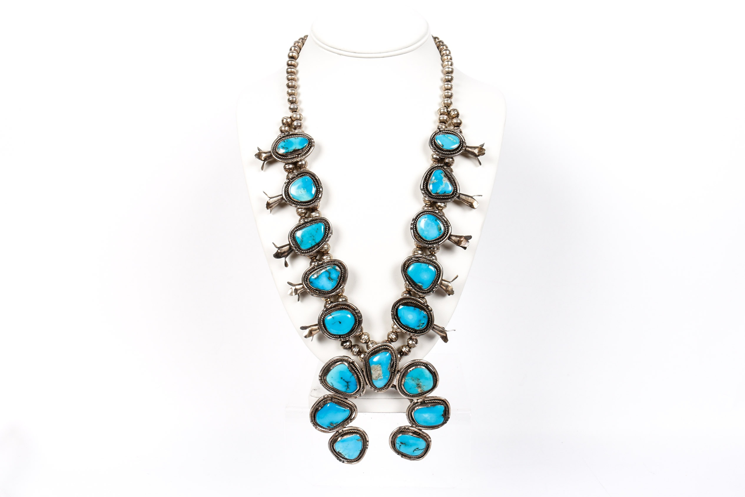 800 Silver Turquoise Squash Blossom Necklace