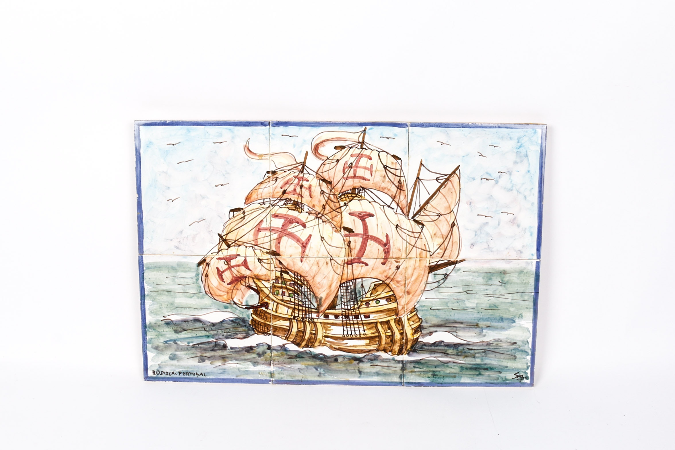 Signed Hand Painted Portuguese Tile Art