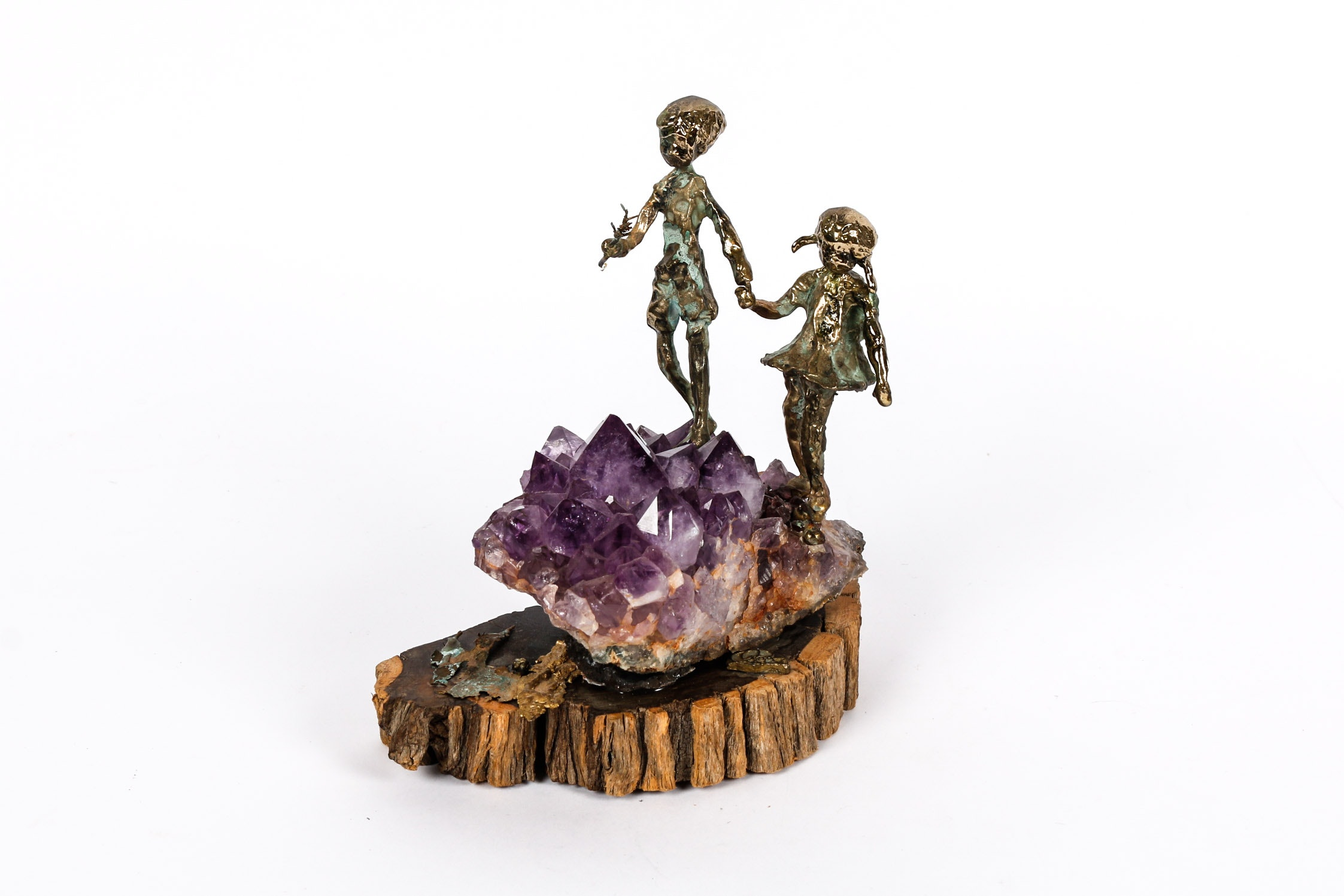 Signed Mid Century Amethyst, Ebony, and Bronze Sculpture