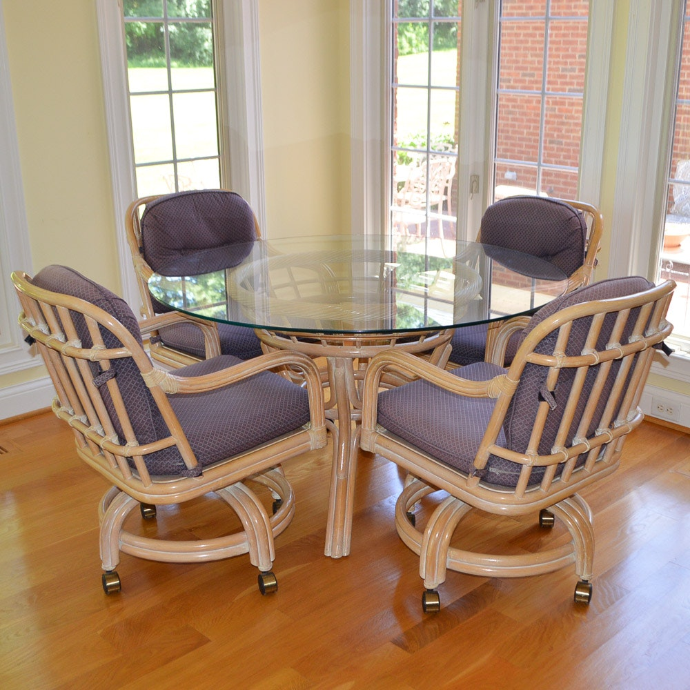 Glass Top Faux Bamboo Dining Table And Chairs By Lane ...
