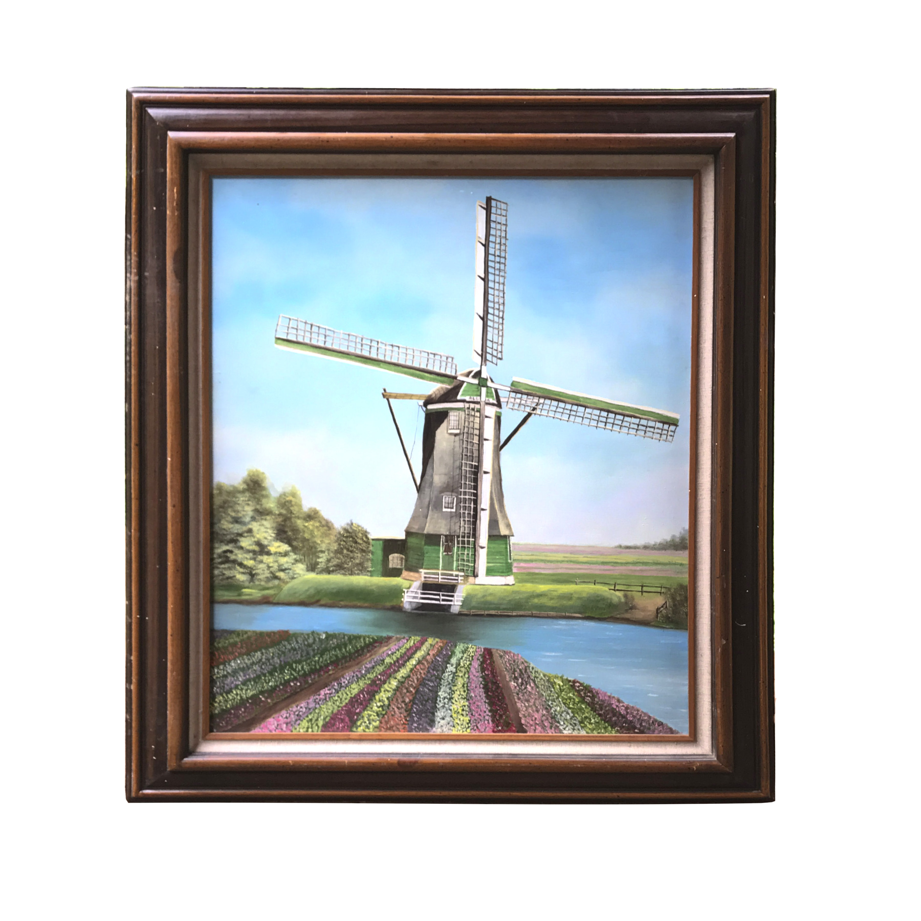 N.A. Hirano Oil on Canvas Landscape With Windmill