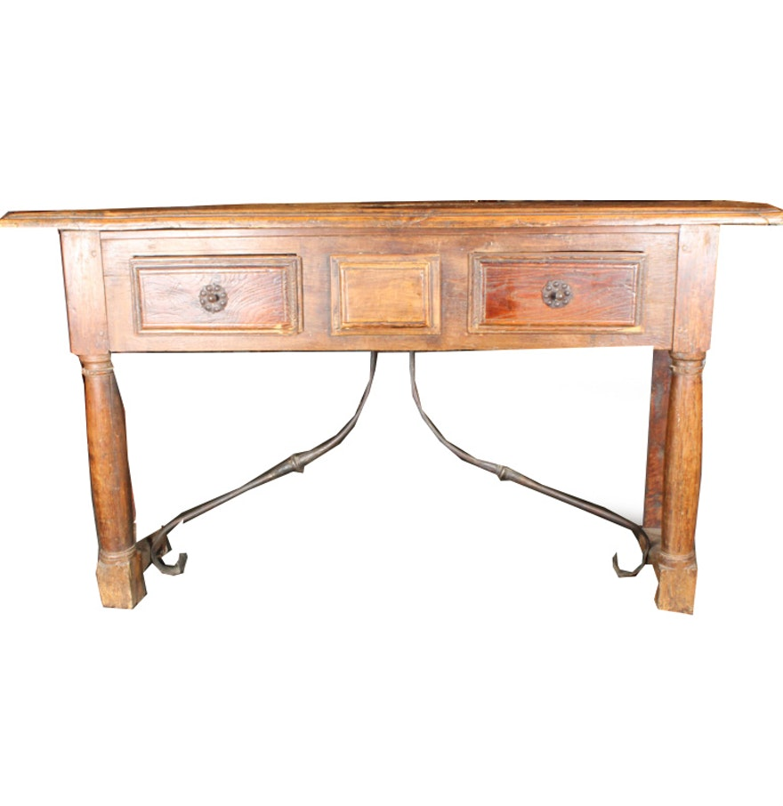 Antique spanish colonial style console table ebth - Console style colonial ...